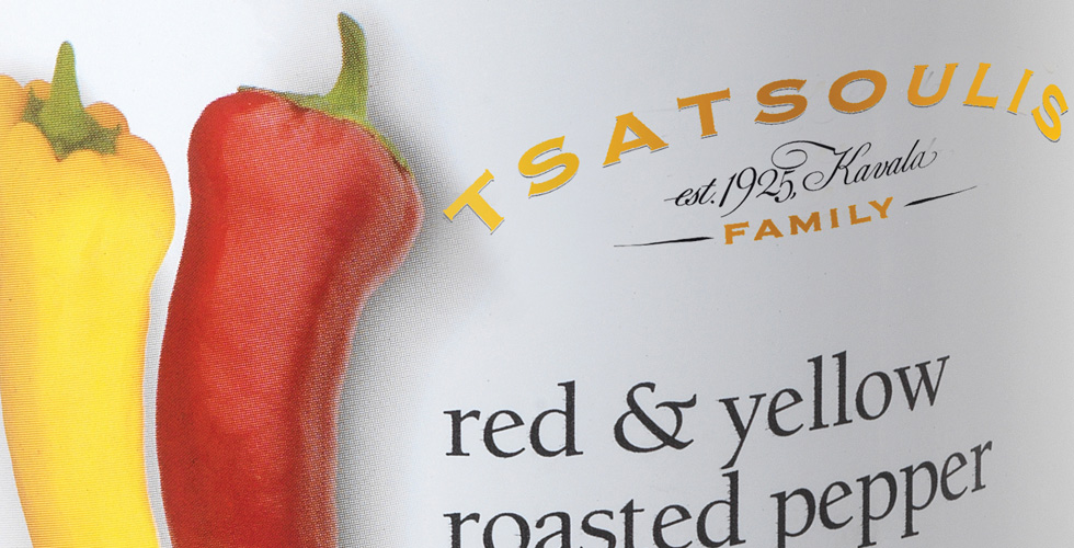 Red and yellow roasted pepper strips